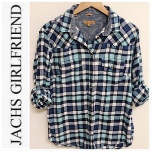 JACHS Girlfriend 'Bea' Blue Plaid Flannel Shirt L